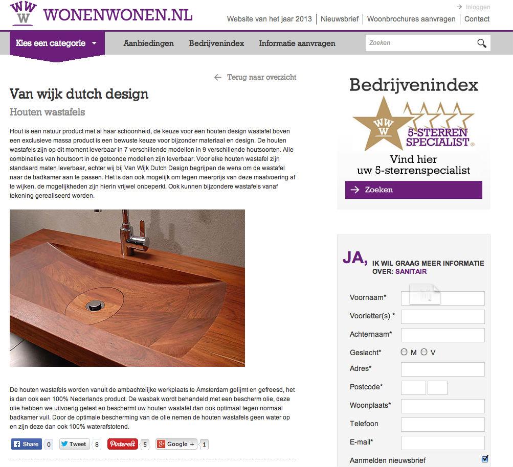 Van Wijk Dutch Design in de media wonenwonen.nl